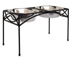 Regal Double Bowl Elevated Diner - Tall - Raised Dog Feeder - Black: Beautiful wrought iron elevated dog diner with stainless bowls and non-skid plastic tips on legs. Elevated Dog Feeder, Raised Dog Feeder, Raised Dog Bowls, Dog Stroller, Tallest Dog, Dogs For Sale, Dog Items, Dog Diapers, Dry Dog Food