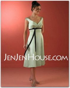 Bridesmaid Dresses - $96.99 - Empire V-neck Tea-Length Satin Bridesmaid Dresses with Ruffle  Sash (007001474) http://jenjenhouse.com/Empire-V-neck-Tea-length-Satin-Bridesmaid-Dresses-With-Ruffle--Sash-007001474-g1474