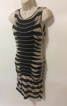 Betsey Johnson Curvy Bodycon Tan Black Tucked Stripe Classy Club Dress Sz 2 #BetseyJohnson #StretchBodycon #Clubwear