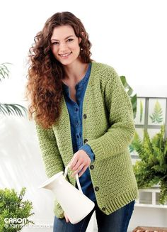 Adult Crochet V-Neck Cardigan - Pattern   Yarnspirations   Free Patterns