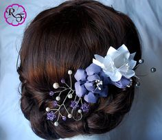 Bridal hair accessory  lilac flowers  Kanzashi by RainOfFlowers
