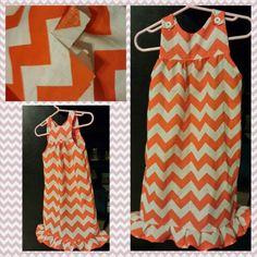 Orange chevron 2t-3t girls dress  -nTICing dEsigns