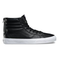 The Premium Leather Sk8-Hi Reissue Zip combines the iconic Vans reissued high top with a zipper up the back heel, premium leather uppers, signature rubber waffle outsoles, and padded collars for support and flexibility.