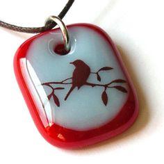 fused glass bird silhouette pendant