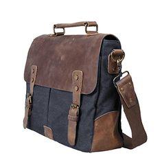 Ecosusi Herren Damen Leder Canvas Tasche Messenger Bags Handtasche Aktentasche schultertasche Umhängetasche1