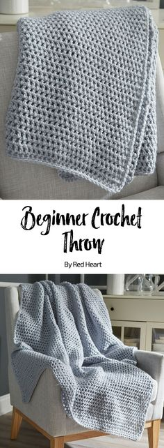 Beginner Crochet Throw free crochet pattern in Super Saver Chunky yarn. Add style to your space with this one-color throw. Only you will know how easy this pattern is to crochet with chunky yarn. Choose to use any shade—a classic neutral tone, relaxing soft color or energetic bright hue. #beginnercrochet #crochetblanket