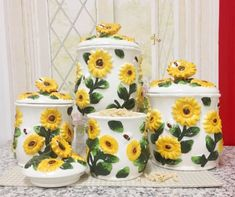 Country Sunflower 4PC CANISTER Ceramic Kitchen Decor Marc...