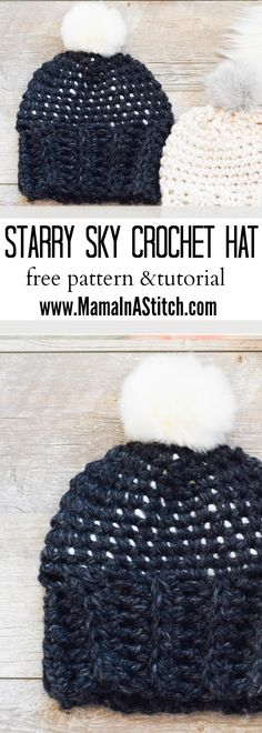 """Super easy, free crochet """"Starry Sky Crochet Hat Pattern"""" via @MamaInAStitch. This is so simple but has a unique look. #crafts # diy"""