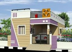 elevations of independent houses के लिए चित्र परिणाम Single Floor House Design, Modern Small House Design, House Front Design, Modern House Plans, Modern Houses, Village House Design, Bungalow House Design, Bungalow Exterior, Indian House Exterior Design