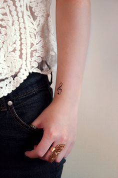 Small G Clef music temporary tattoo 4 pieces by Tattoorary on Etsy