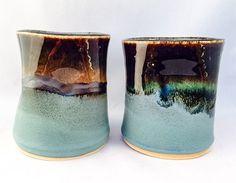 Set of 2 stoneware ergonomic pottery cups, green and glossy black glaze (8oz) by CenteredVessel on Etsy