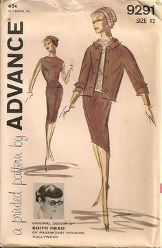 UNCUT Vintage 1960's Suit, Blouse and Turban Pattern Advance 9291 Designed by Edith Head