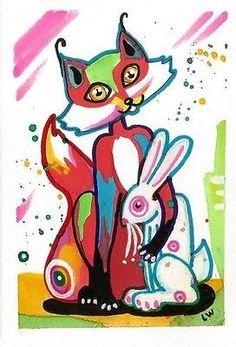 LWick Original SFA animal watercolor colorful fox bunny rabbit cute 4x6