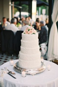 Simple Cake + Light Pink Blooms