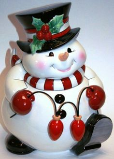 Cute snowman cookie jar