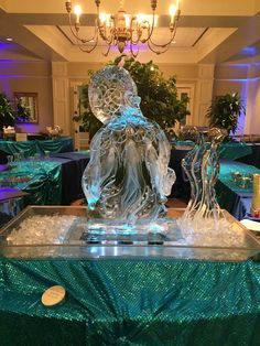 """Octopus ice sculpture as the centerpiece to an """"Under the Sea"""" event. #icesculptures"""