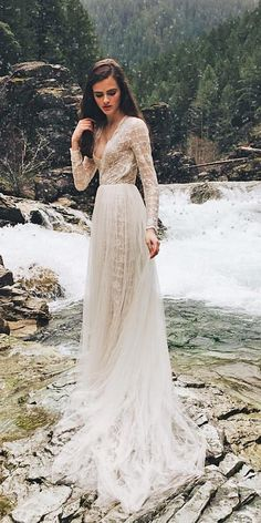 21 Impeccable Winter Wedding Dresses ❤ winter wedding dresses sheath with long sleeves v neckline floral embellishment emily riggs bridal ❤ Full gallery: https://weddingdressesguide.com/winter-wedding-dresses/
