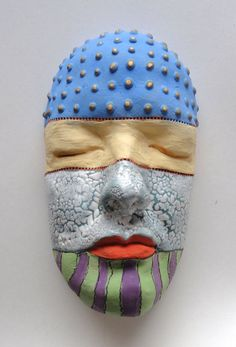 Celebrate the Colors of Life Ceramic Sculpture Mask by Mudgoddess