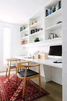 Long desk for two for home office. Cool Office Space, Office Nook, Home Office Desks, Office Spaces, Office Setup, Ceo Office, Lawyer Office, Workspace Desk, Tiny Office