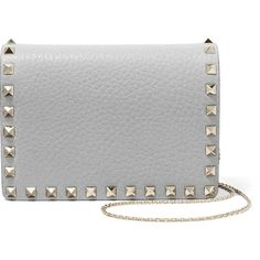 Valentino The Rockstud textured-leather shoulder bag (2,080 BAM) ❤ liked on Polyvore featuring bags, handbags, shoulder bags, light gray, chain shoulder bag, shoulder handbags, snap closure purse, embellished purses and studded purse