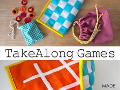 Felt Take-a-long games.  What a fun idea.  The felt helps keep the pieces in place on the go. (fun gift too!)