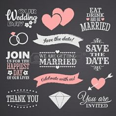 Beautiful chalkboard style wedding design elements inspiration for your invitation