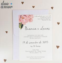 convite casamento moderno; convite simples; convite floral;