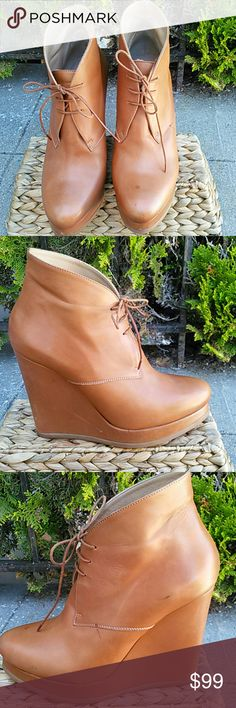 Jill Sandar wedge lace up booties chestnut Brown Good condition there are some scratches and marks on the leather please see photos. Shoes Ankle Boots & Booties