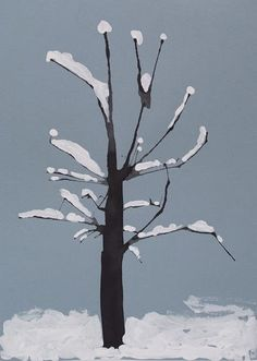 winter art project: snow on trees painting