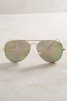 Anthropologie Mirrored Aviator Sunglasses