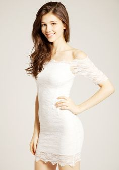 57786fc7a02f Off Shoulder Lace Dress - White  21 under the chiffon maxi skirt   Off  Shoulder