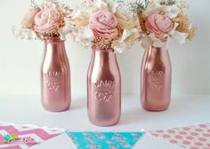 Items similar to Mother's Day Decor COPPER Painted Milk Bottles Baby Shower Decor Pink Wedding Decor Home Decor Vase Rose Gold Decor Pink Girl on Etsy Shower Party, Baby Shower Parties, Shower Gifts, Baby Showers, Bridal Shower, Baby Shower Centerpieces, Wedding Centerpieces, Wedding Decorations, Decor Wedding
