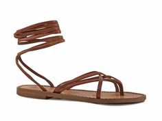 Women's vintage cuir strappy leather sandals handmade in Italy - Italian Boutique $65