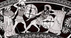 Diomedes battles Aeneas in a scene from Homer's Iliad. Aeneas is shown falling beneath the spear of Diomedes, who is driven on by the goddess Athene, arrayed with spear, helm and aigis cloak. Aphrodite rushes on with arms outstretch to rescue her son from the battle. However she will be wounded by Diomedes and Athene in the process.