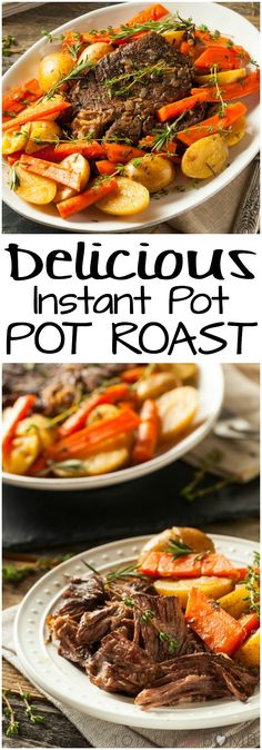 Forget HOURS of cooking, this pot roast is ready FAST! Instant Pot takes pot roast from craving to table in just a few easy steps. Enjoy! | #potroast #instantpot #fast #fastfood #underpressure #pressurecooker #sundaydinner #whatsfordinner #beef #carrots #potatoes #midwestdinner #dinnerdoneright #comfortfood #craving #whatwearecraving