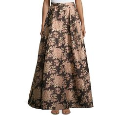 Alice + Olivia Rachelle Floral Jacquard Ball Skirt (1,455 BAM) ❤ liked on Polyvore featuring skirts, multi, long brown skirt, long floral skirts, long a line skirt, floral skirt and floral print maxi skirt