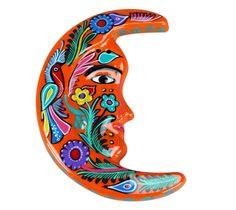 Michoacan Hand Painted Large Half Moon Talavera Pottery