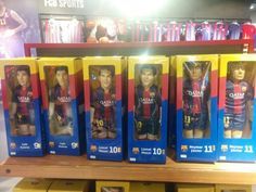 BubuzZ FCB figures now in Camp Nou mega store. Barcelona, Spain