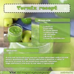 Fogyókúrás zöldturmix recept. Hasonló zöldturmix receptek a weboldalon ;) #zöldturmixreceptek Cocktail Drinks, Cocktails, Cucumber, Smoothies, Lime, Health Fitness, Soap, Minden, Personal Care