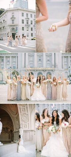 Glam San Francisco City Hall Wedding | Style Me Pretty | Bloglovin'