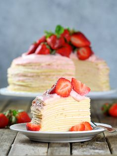 Strawberry Lemon Creme Crepe Cake via 13 Desserts, Spring Desserts, Baking Recipes, Cake Recipes, Dessert Recipes, Crape Cake, Crêpe Recipe, Strawberry Crepes, Strawberry Crepe Cake Recipe