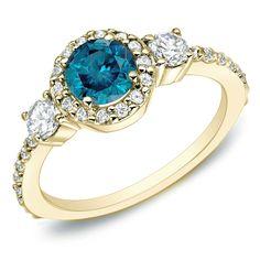 Auriya 14k Gold 3/4ct TDW Blue Round Diamond Ring (I1-I2) (White Gold - Size 4), Women's