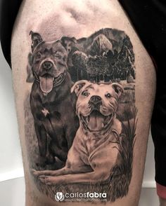 Los mejores amigos de Xavi ya están en su piel para siempre. Muy agradecido de que un adiestrador confíe en mí para algo así de especial para el. He disfrutado mucho con esta gran imagen y su paisaje! Realizado en @cosafina_tattoo con @inkjecta @aloetattoo @radiantcolorsink @thebestspaintattooartists @skinart_mag @bnginksociety @tattoolifemagazine @sullenclothing #thebestspaintattooartists #bnginksociety #skinartmag #tattooworkers #inkjecta #aloetattoo #radiantcolorsink #dog #animal #tattoo… Friend Tattoos, Dog Tattoos, Body Art Tattoos, Sleeve Tattoos, Animal Tattoos For Men, Tattoos For Guys, Dog Portrait Tattoo, Staffy Dog, Deer Head Silhouette