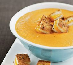 Roasted tomato soup with grilled cheese croutons! BRILLIANT!