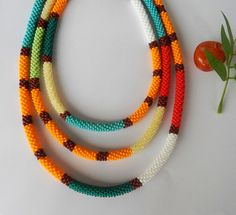 Beaded Crochet Rope  Сrochet Necklace   Bunte von Inspirationzweig