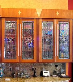 LEADED GLASS CABINET DOORS | CABINET GLASS | stained glass ...