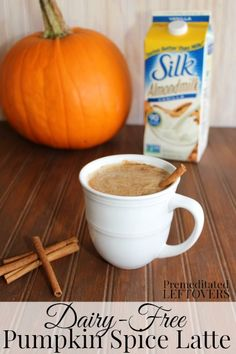 Dairy-Free Pumpkin Spice Latte Recipe using Silk Vanilla Almondmilk. Enjoy a Pumpkin spice latte even if you can't have milk. #TasteSilkAlmond #sp