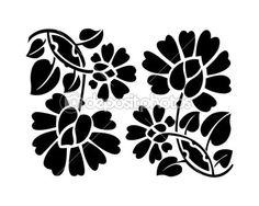 stencil de flores en color  negro                                                                                                                                                     Mais
