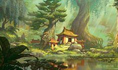 fu kung panda concept dreamworks background animation google bill environment environments landscape artist con fantasy chinese visual kaufmann digital paintings