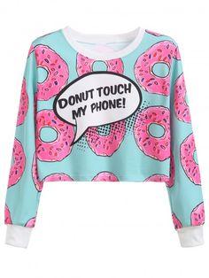 Contrast Trim Donuts Print Crop Sweatshirt | WithChic
